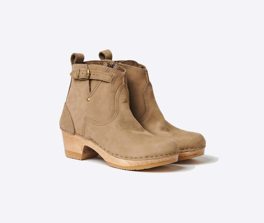 5 Mid Heel Buckle Boot-string suede