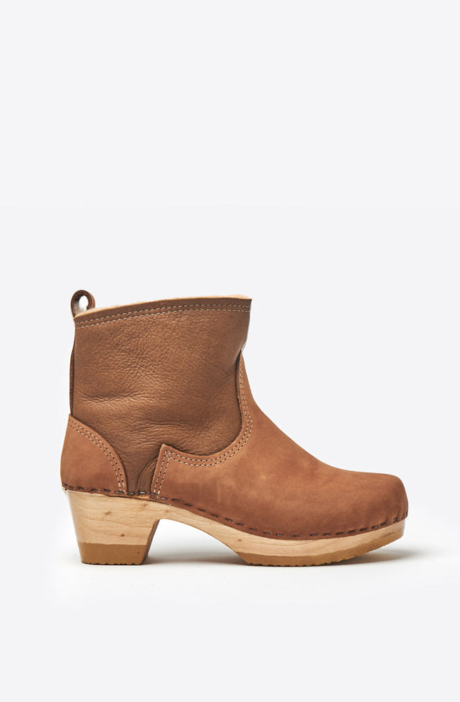 5 Shearling Suede Mid Heel Boot-honey aviator