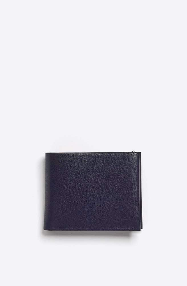 French Grained Wallet-navy
