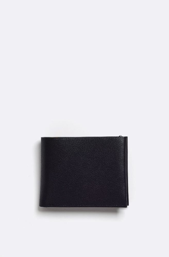 French Grained Wallet-black