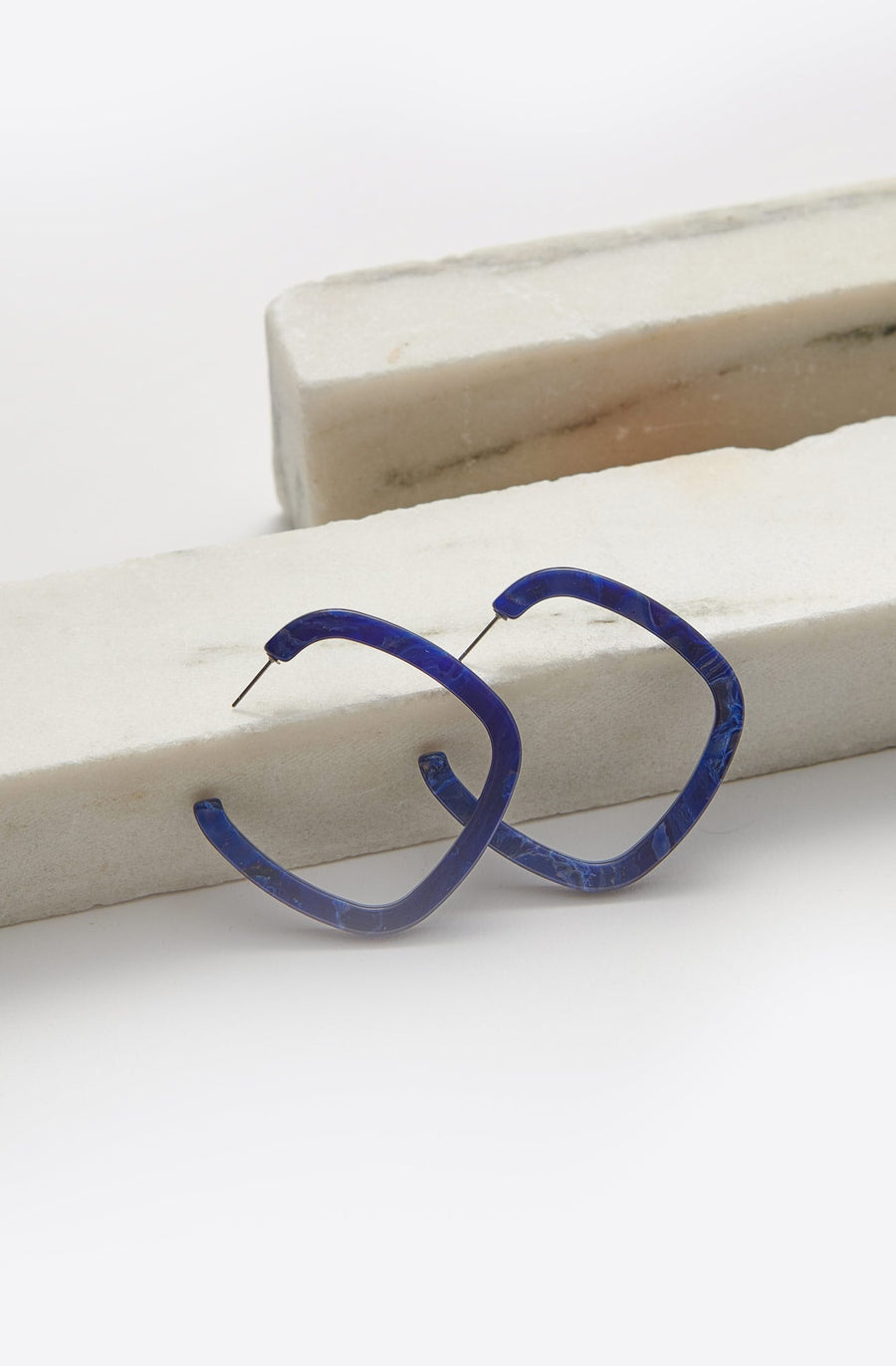 Small Thin Square Hoop Earrings-blue