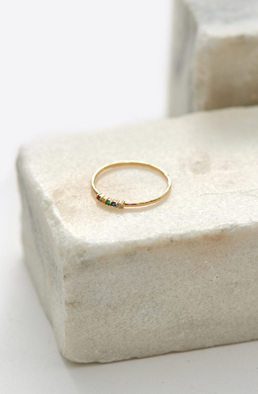 Rainbow Whisper Ring-14K yellow gold