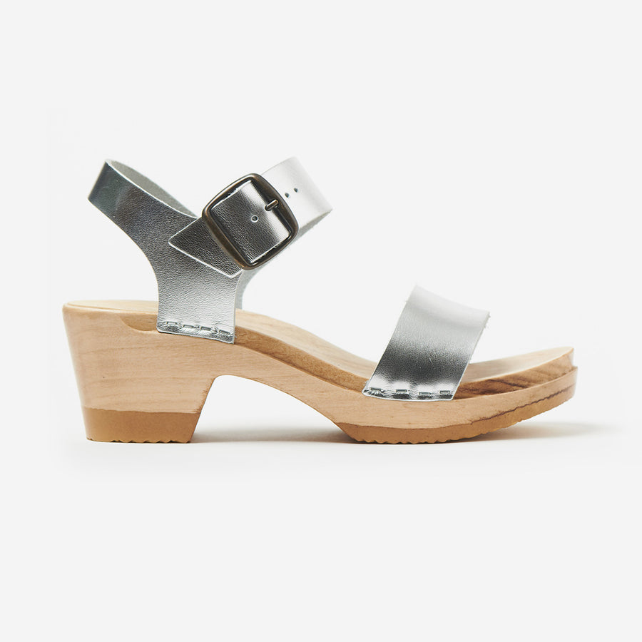 Two Strap Mid Heel Clog-silver
