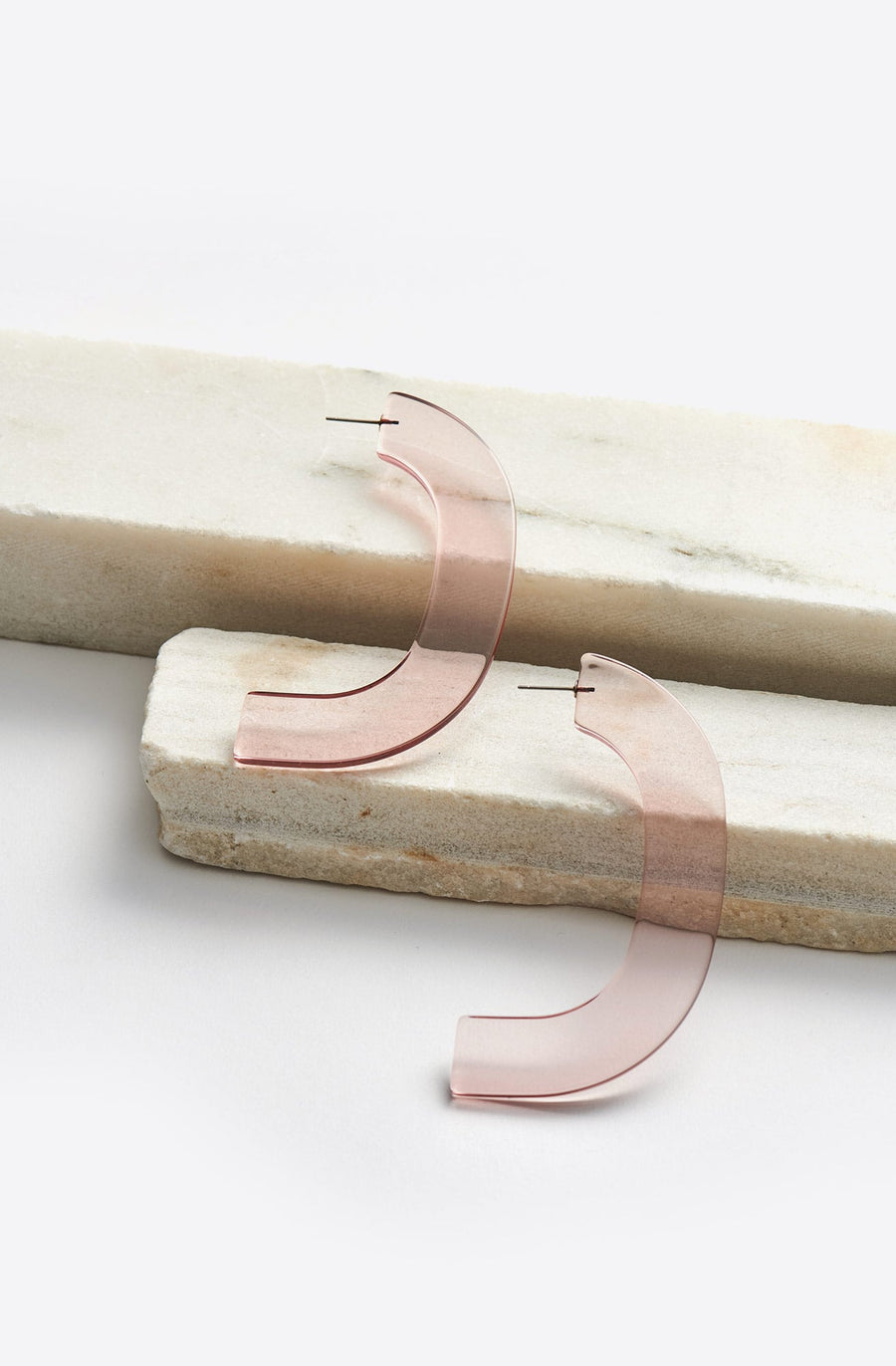 Handle Earrings-clear pink