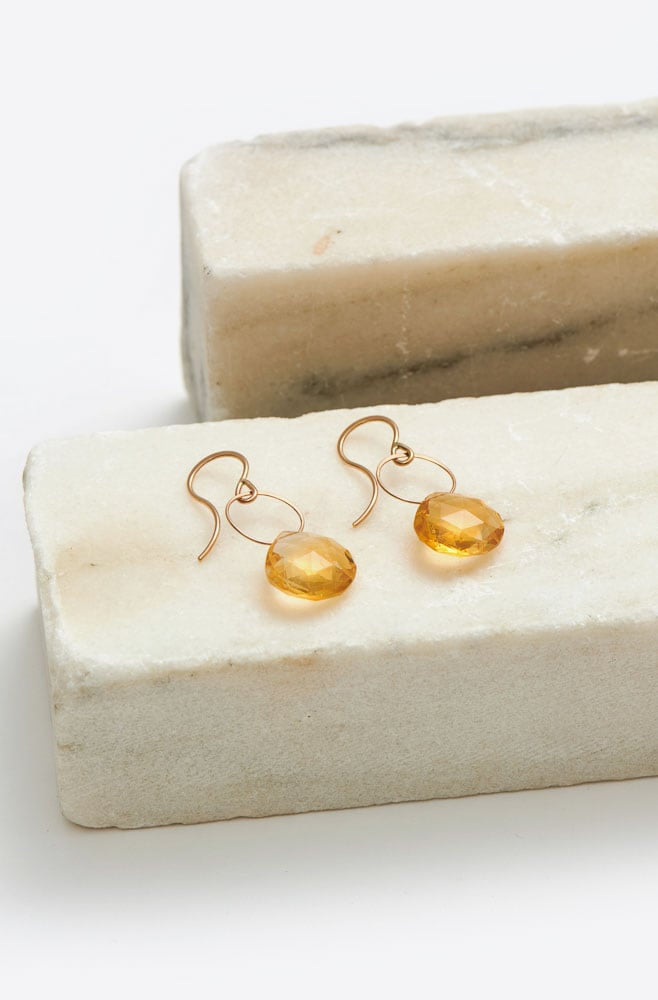 Citrine Single Drop Earrings-gold/citrine
