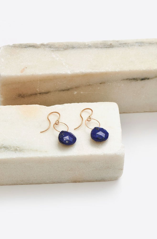 Lapis Single Drop Earrings-gold/lapis