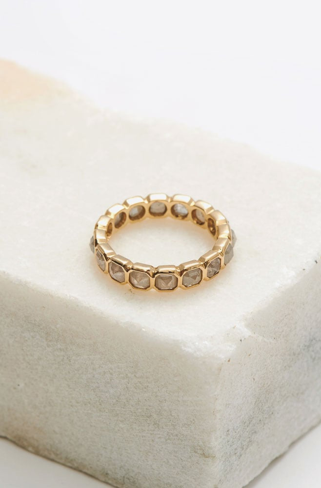 Rustic Diamond Eternity Ring-14K yellow gold