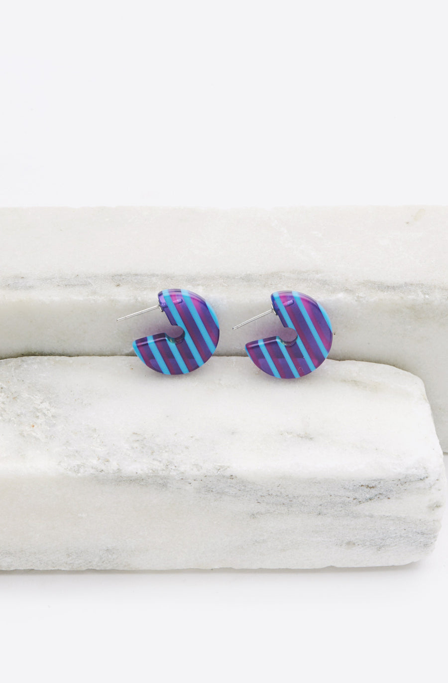 Tiny Disc Hoop Earrings-blue