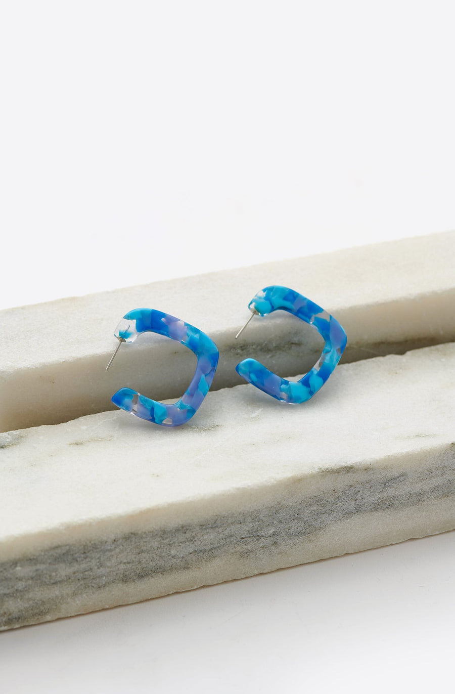 Tiny Square Hoop Earrings-blue