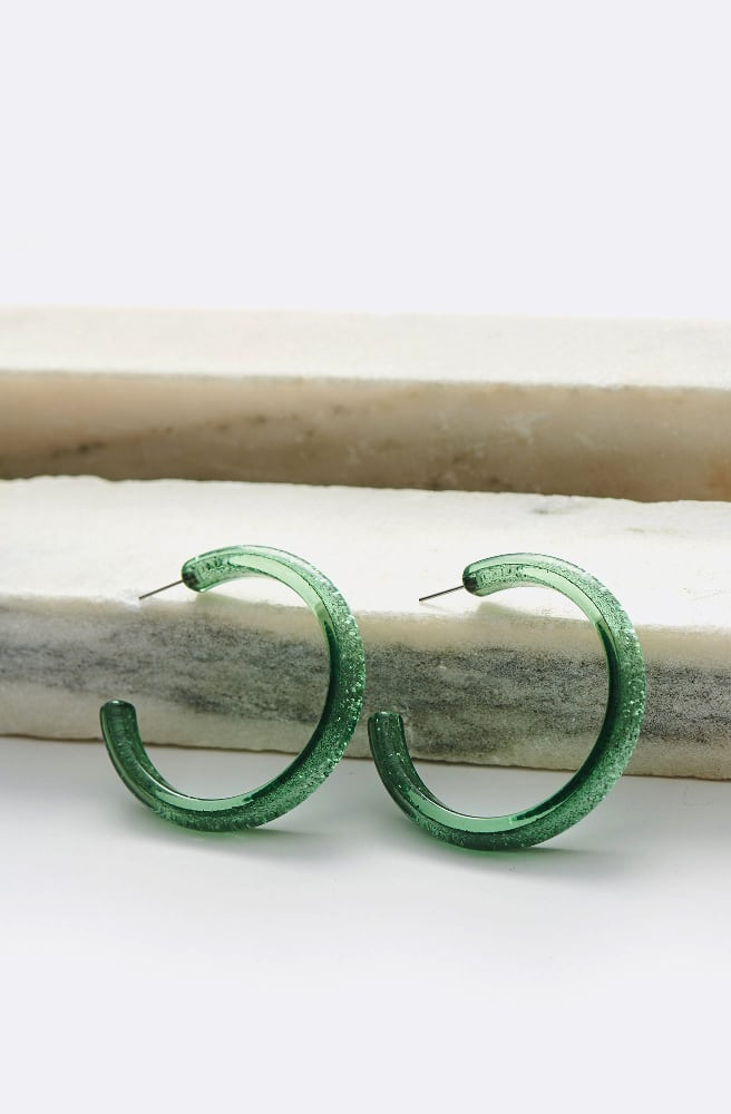 Medium Glitter Hoop Earrings-green
