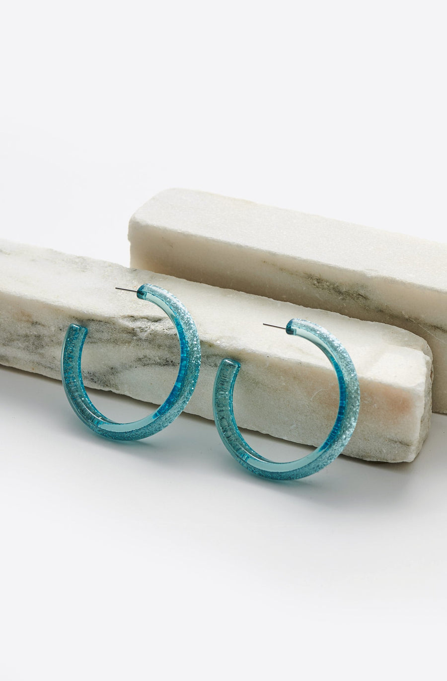 Medium Glitter Hoop Earrings-blue