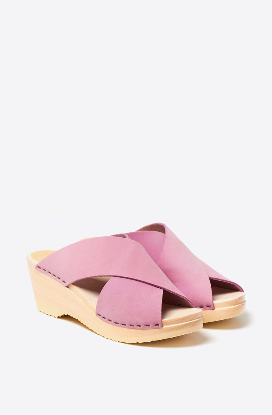 Frida Mid Wedge Clog-violet on white base