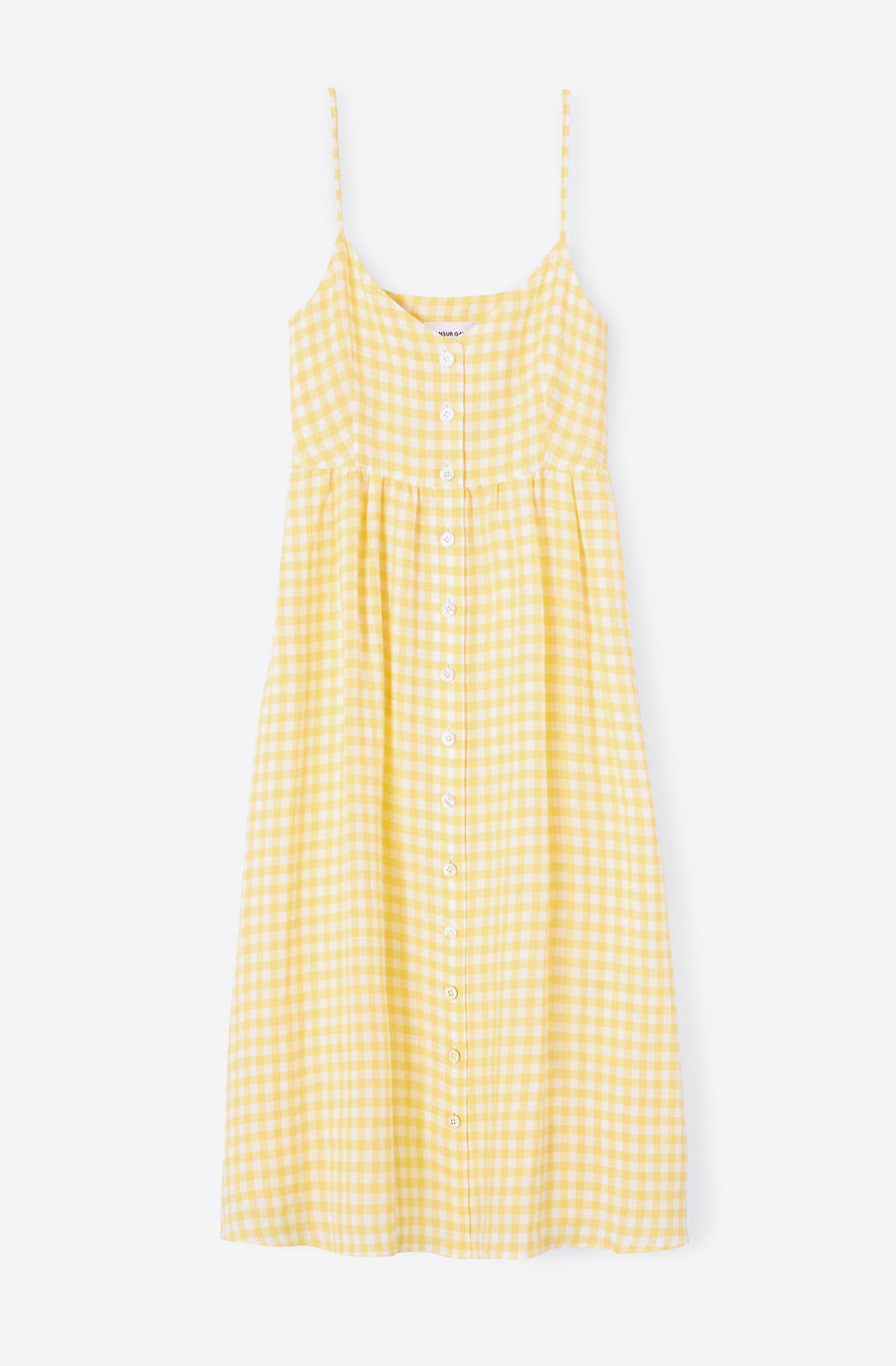 Gingham Slip Button Dress-sun