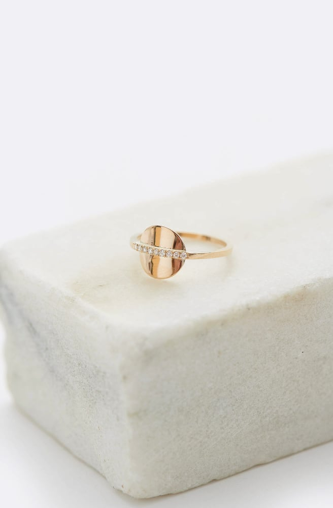 Pave Disc Ring-14K yellow gold