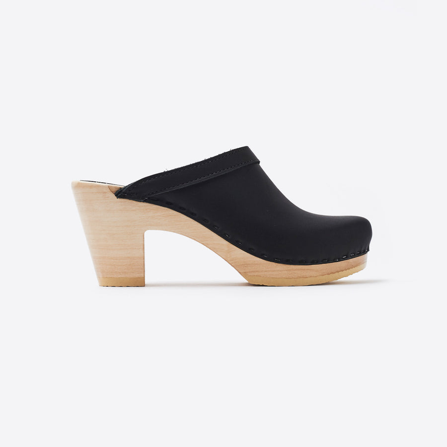 Old School High Heel Clog-black