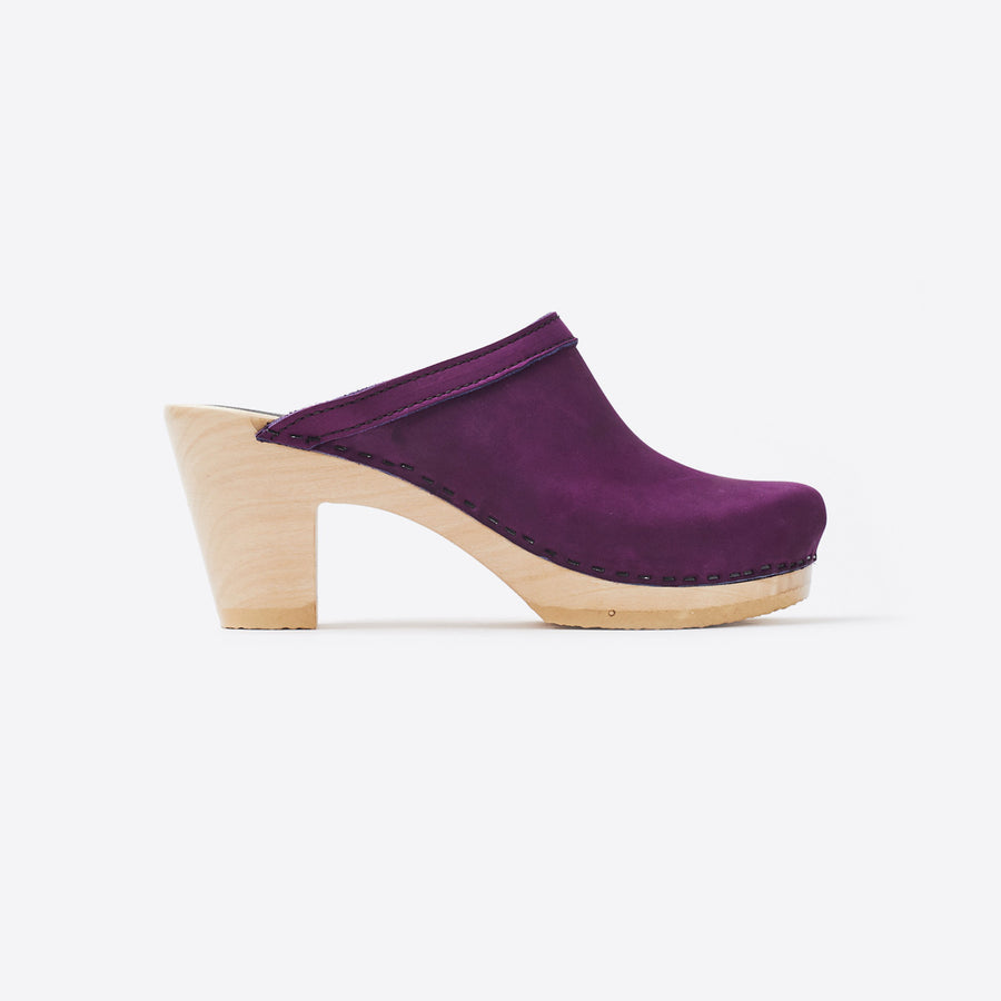 Old School High Heel Clog-purple