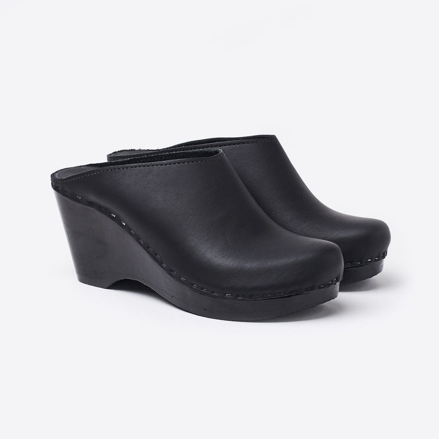 New School Wedge Clog-black/black base
