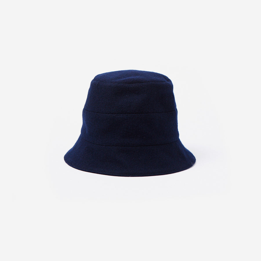 Wool Blend Bucket Hat-navy