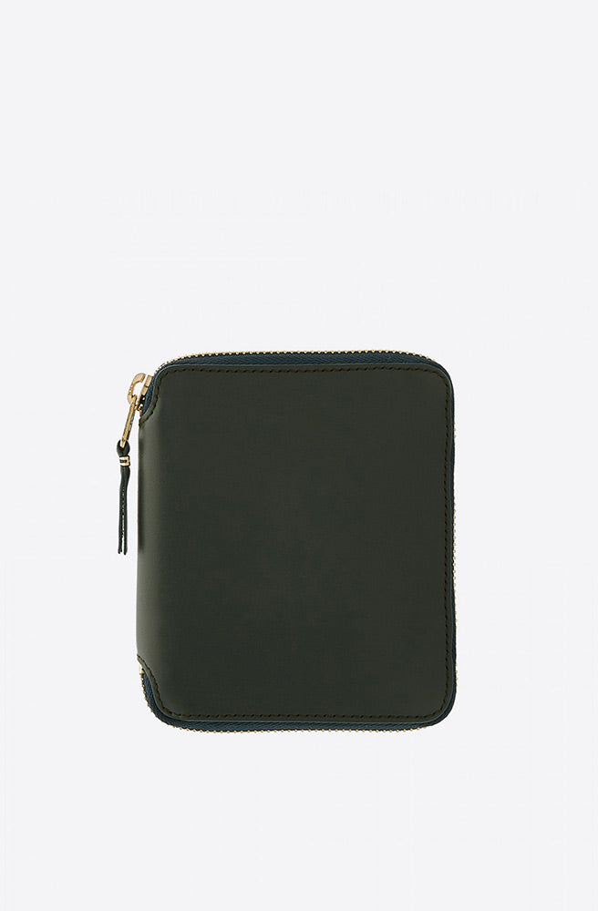 Classic Leather Zip-Around Wallet-bottle green