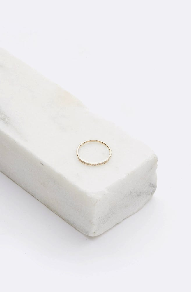 Pave Top Bar Ring-14K yellow gold