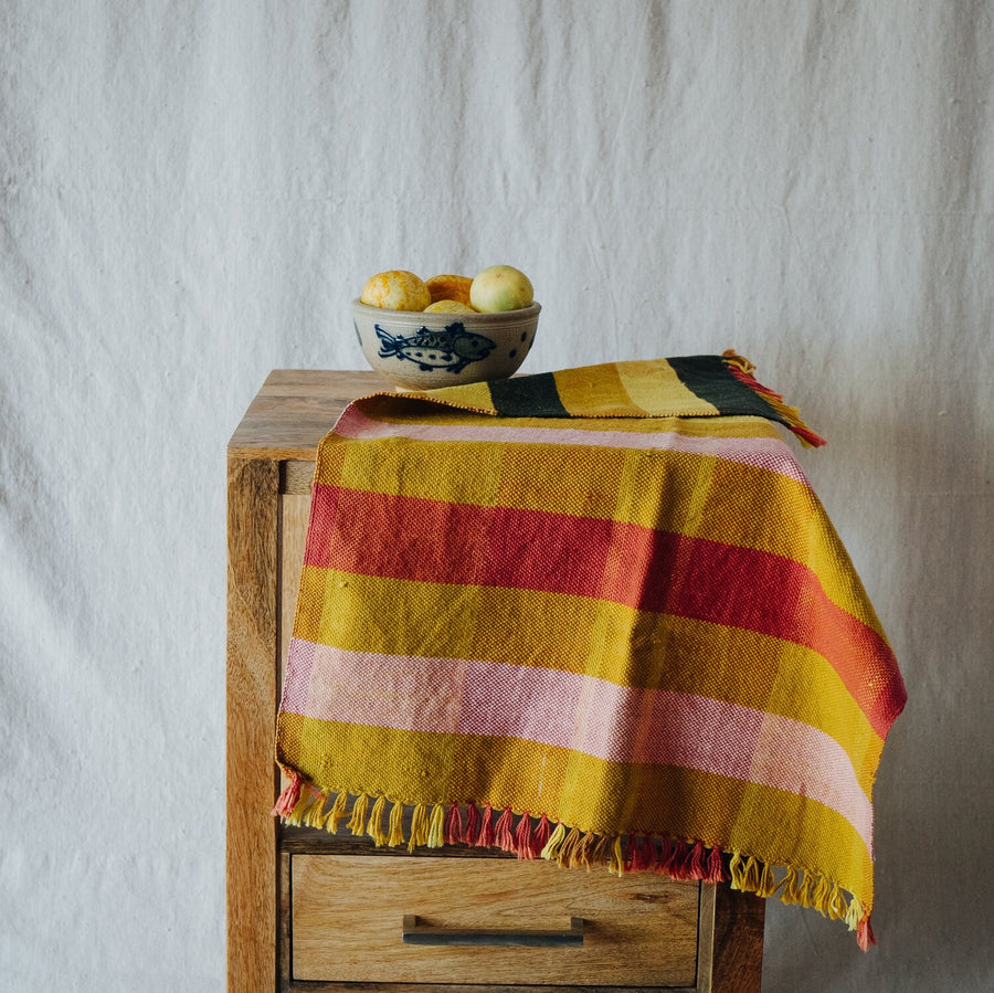 Handwoven Plaid Towel-golden block plaid