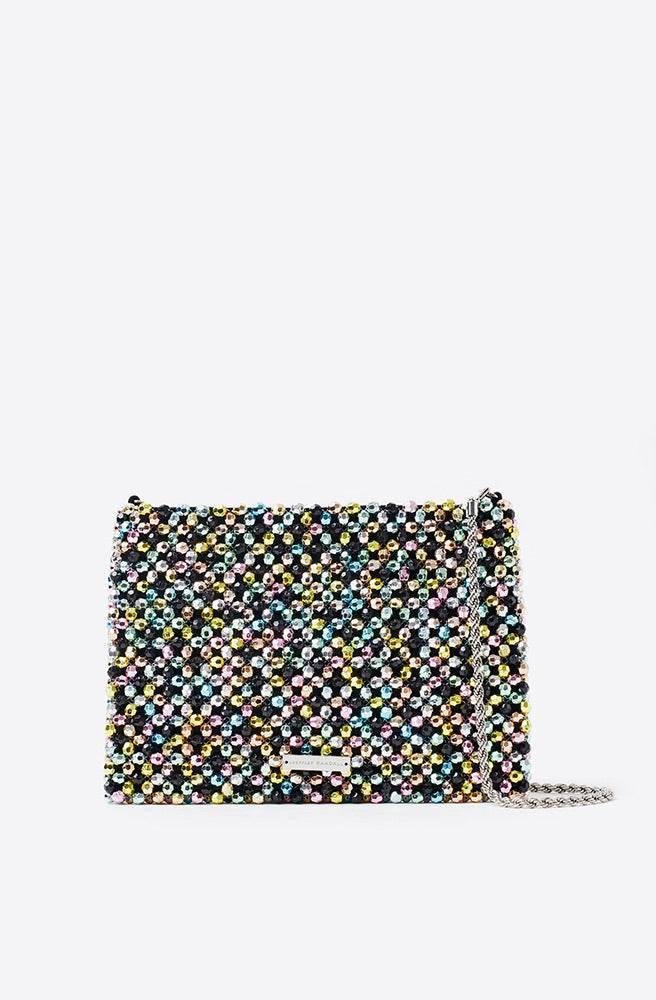 Mia Beaded Clutch-rainbow metallic