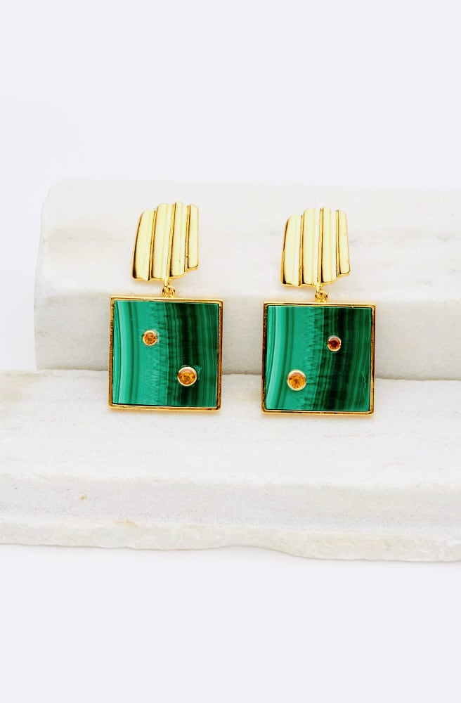 Green Wave Earrings-green