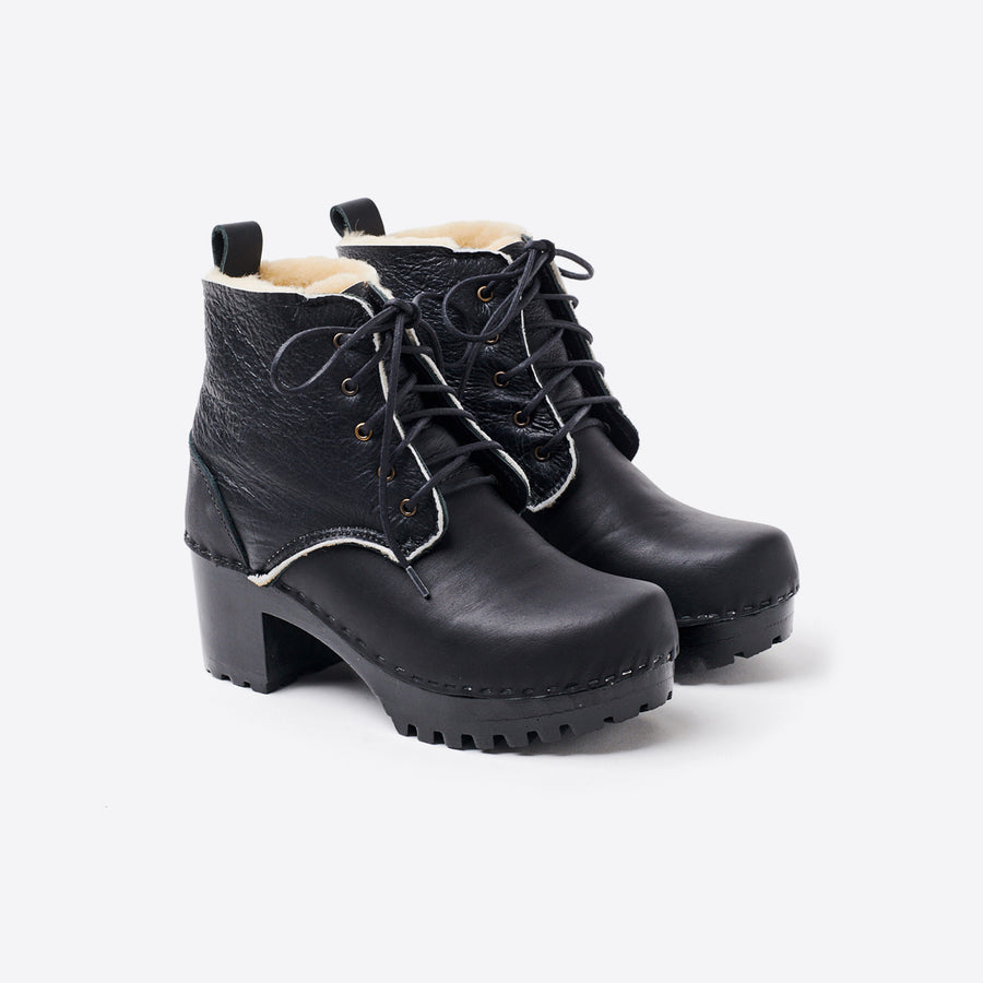 Lander Shearling Lace Up Boot-ink aviator/black base
