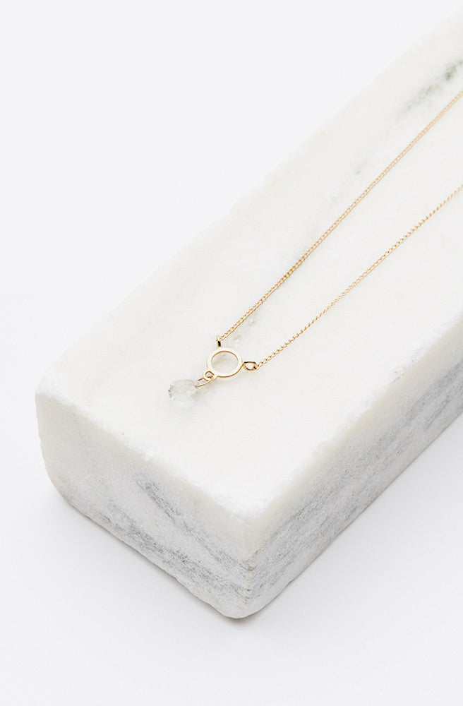 White Topaz Circle Drop Necklace-14K yellow gold