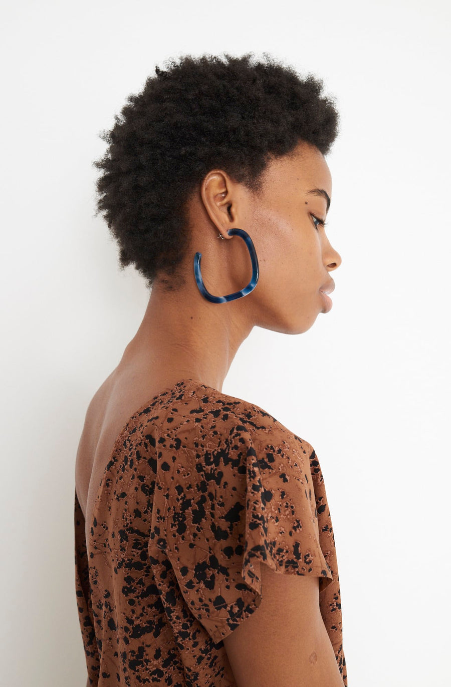 Large Square Hoop Earrings-bleu/navy