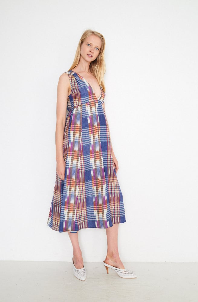 Sally Empire Deep V Dress-ikat