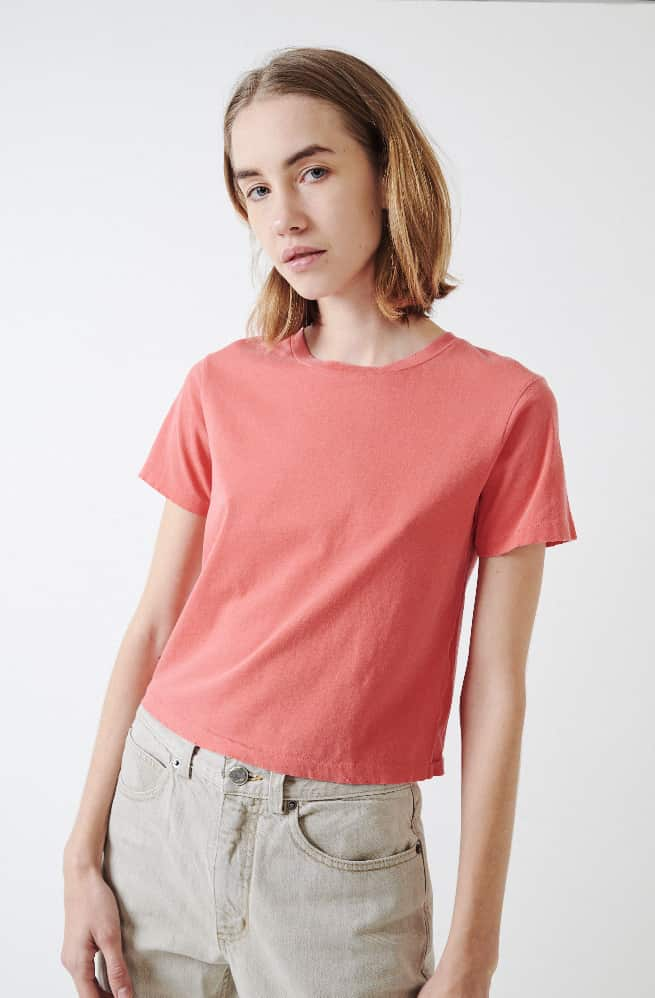 Babe Crop Tee-faded cayenne
