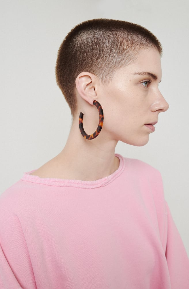 Large Circular Hoop Earrings-cherry