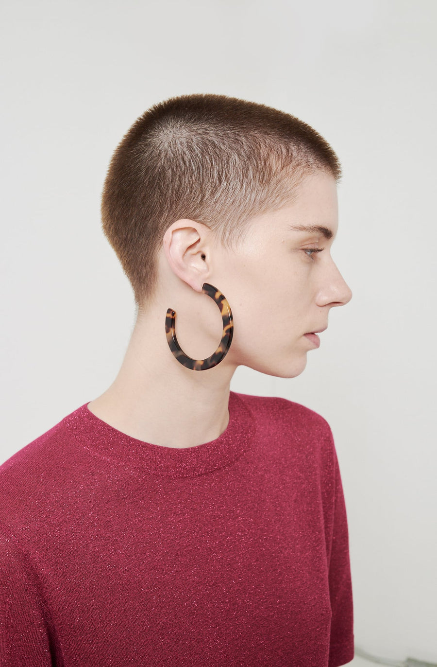 Large Circular Hoop Earrings-brown tortoise