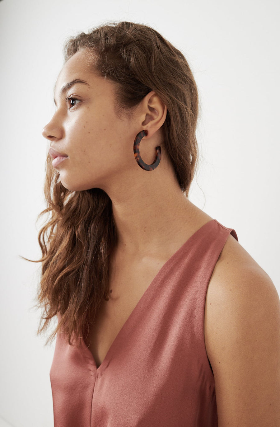 Medium Circular Hoop Earrings-red