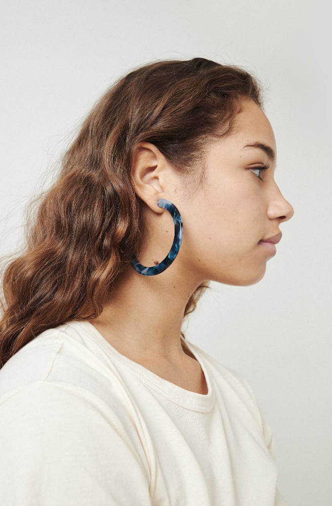 Large Circular Hoop Earrings-blue