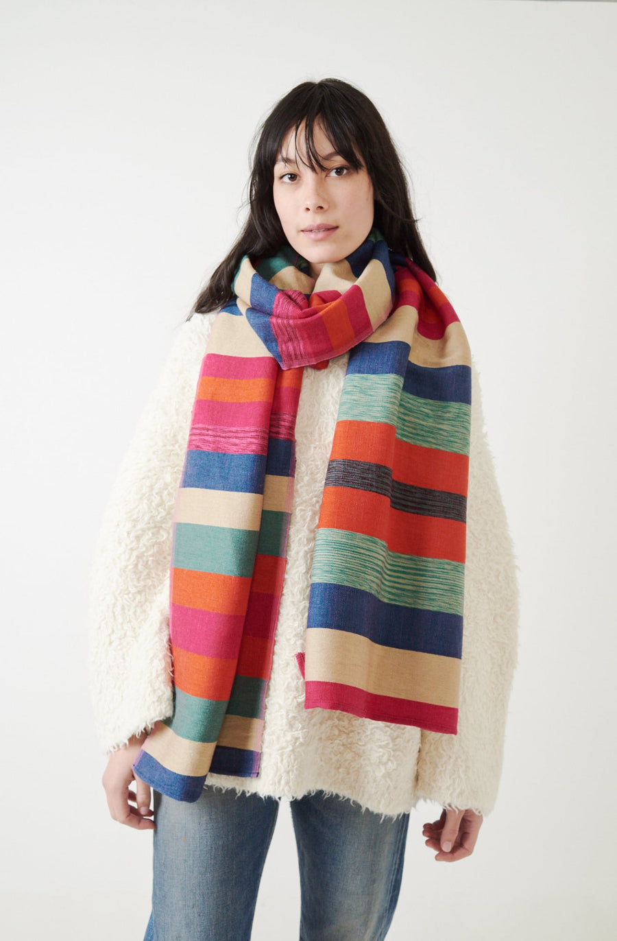 Indigo Striped Scarf-indigo