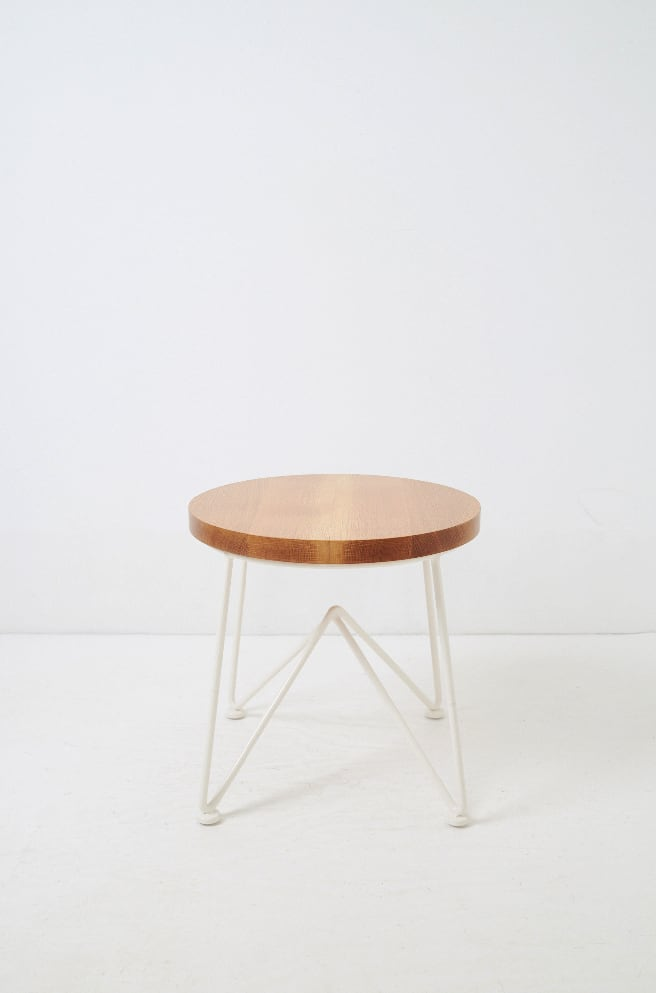 Oak Top Stool-cream