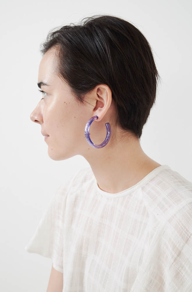 Medium Glitter Hoop Earrings-violet