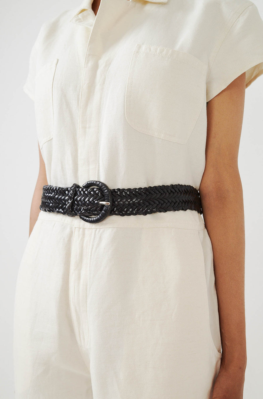 Woven Leather Belt-black