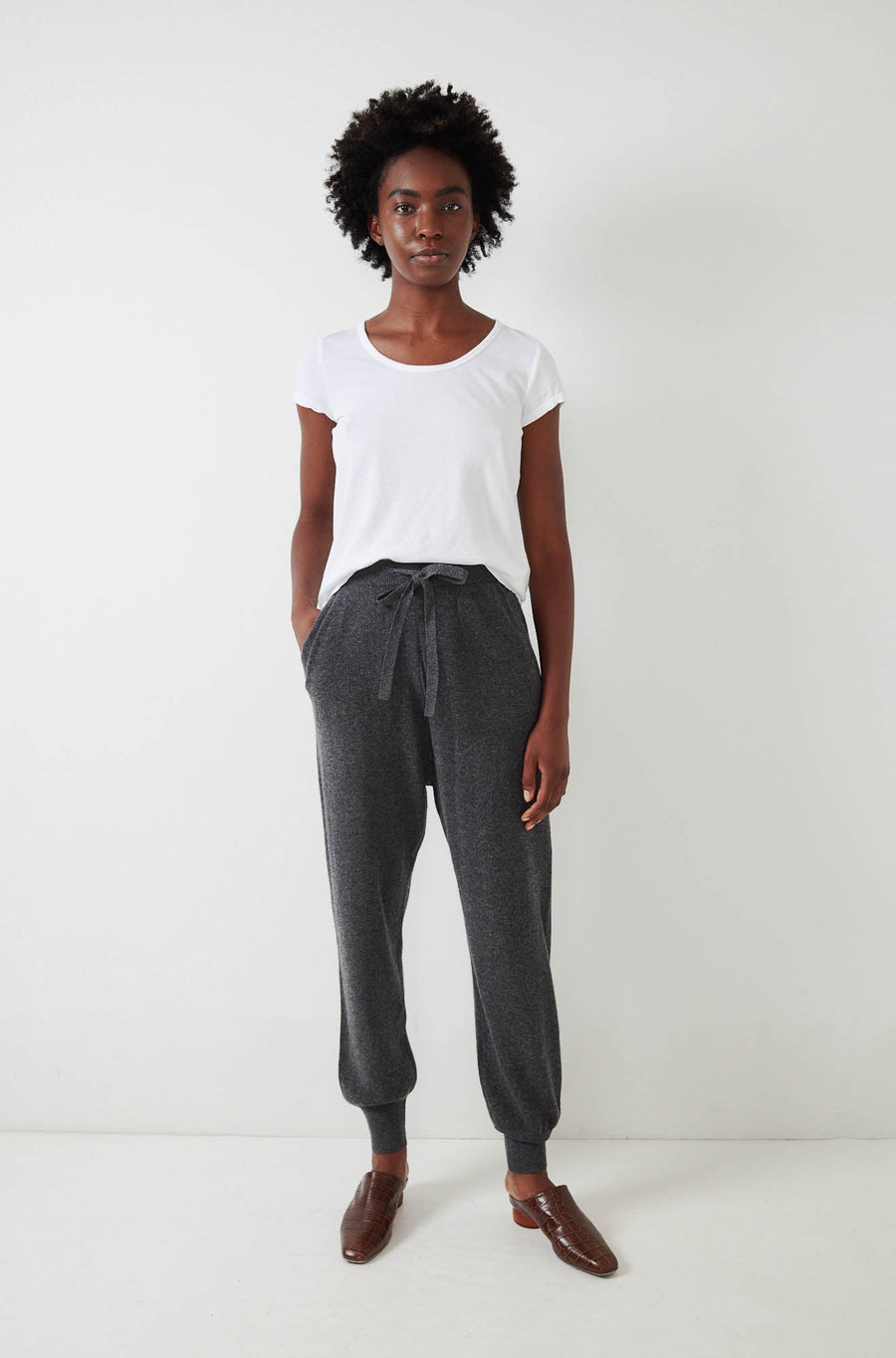 Wool Cashmere Pants-charcoal
