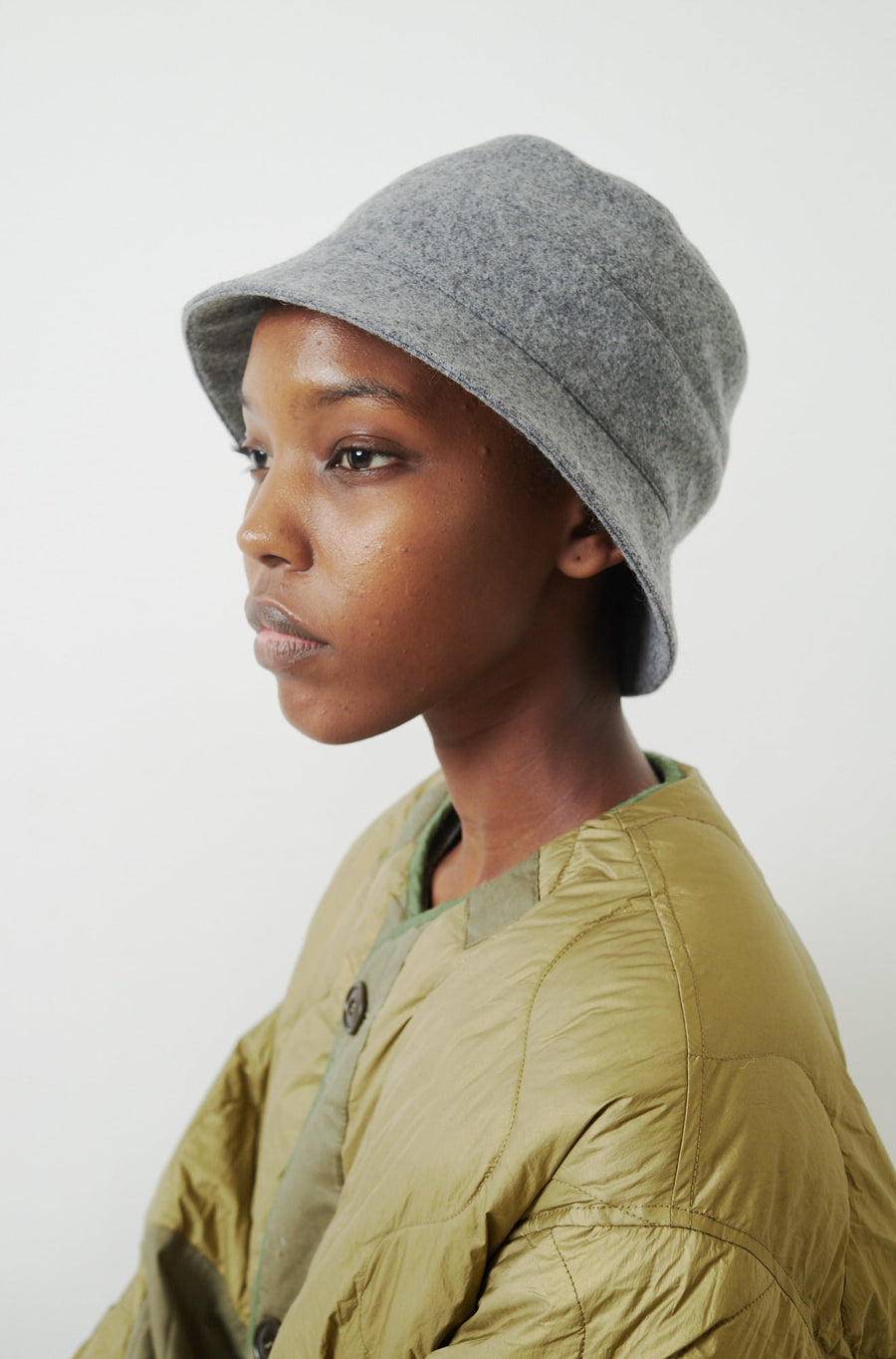 Wool Blend Bucket Hat-grey