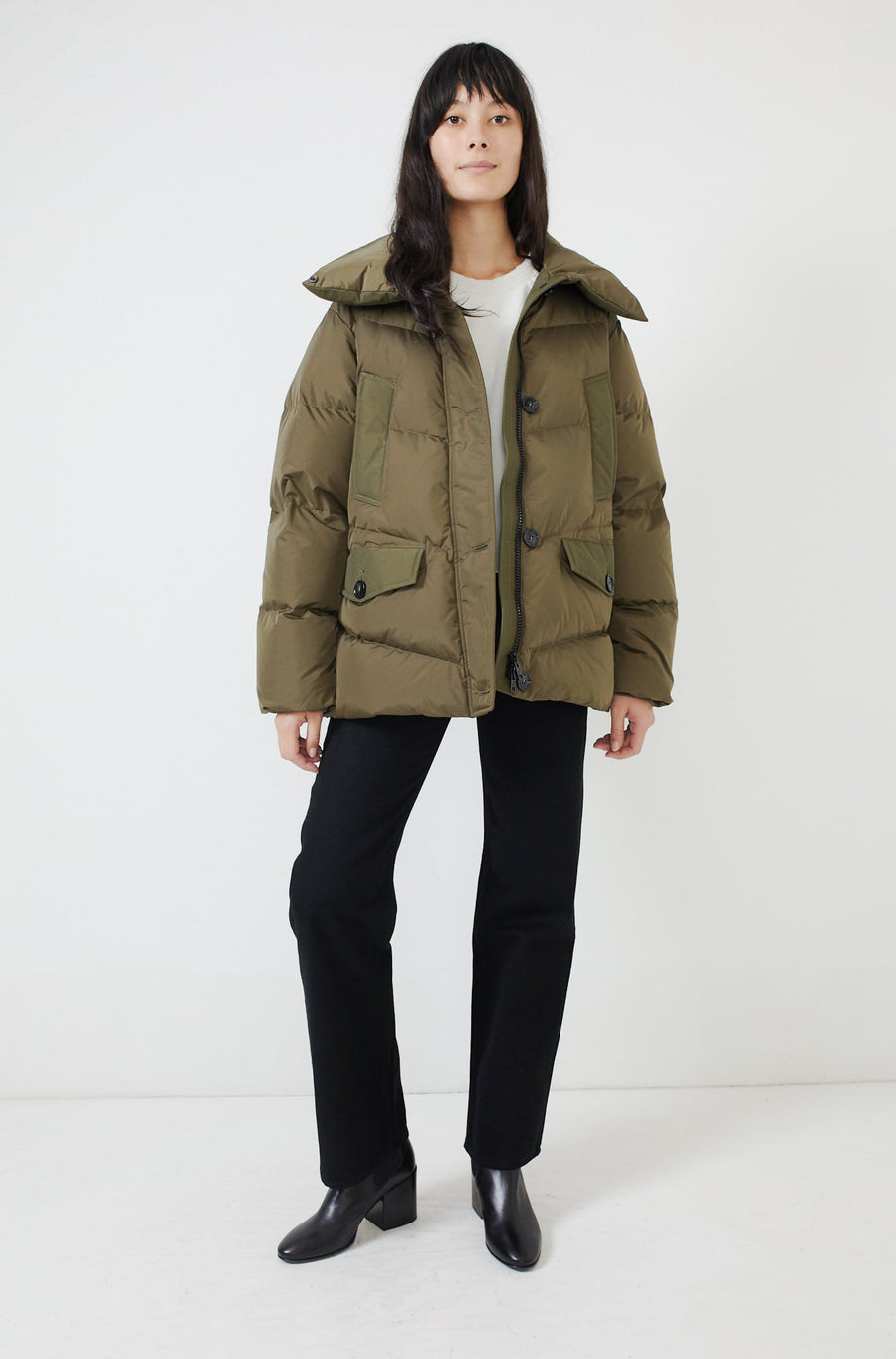 Quilted Puffer Coat-army olive