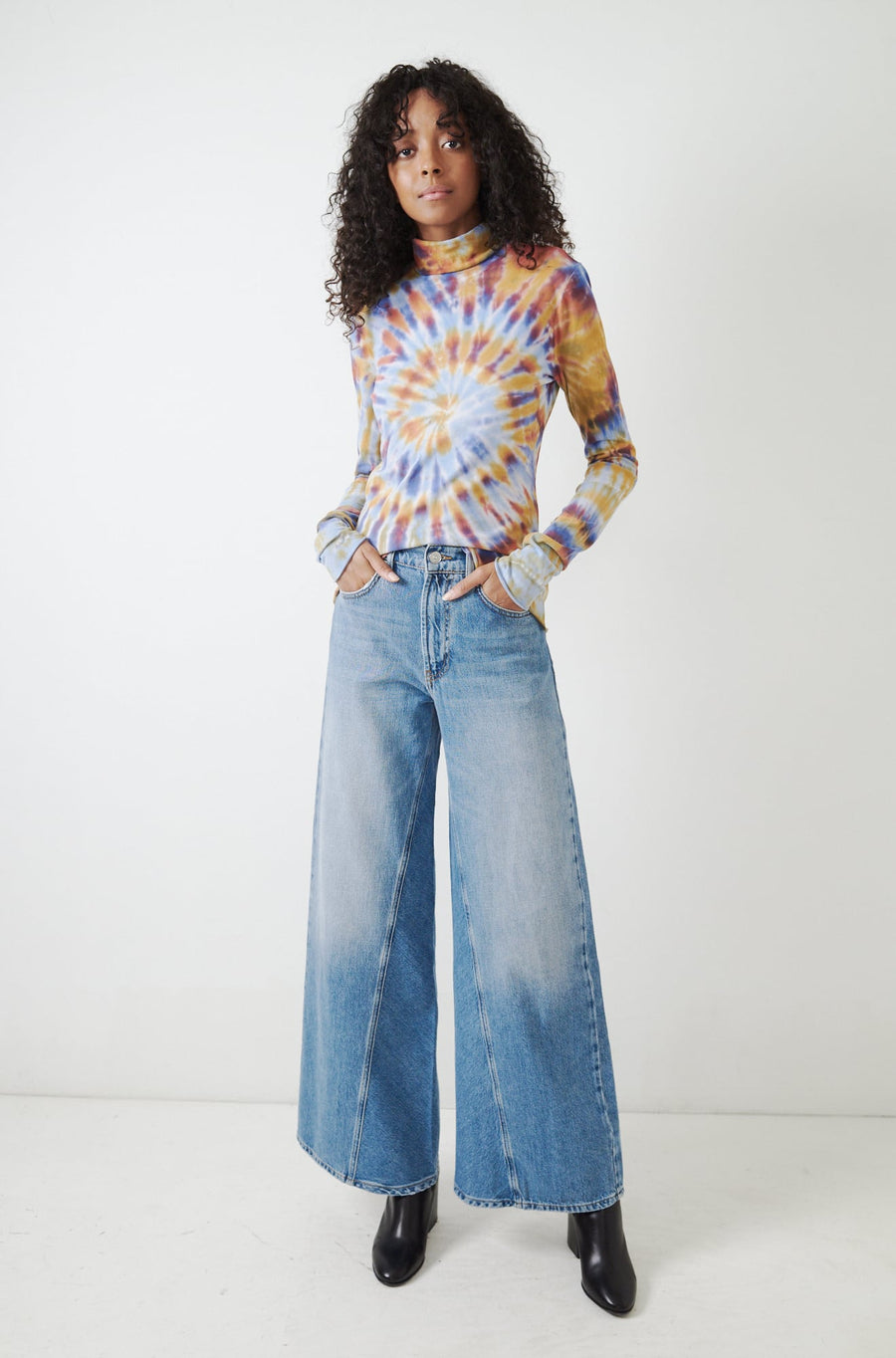 Tie Dye Turtleneck-rainbow
