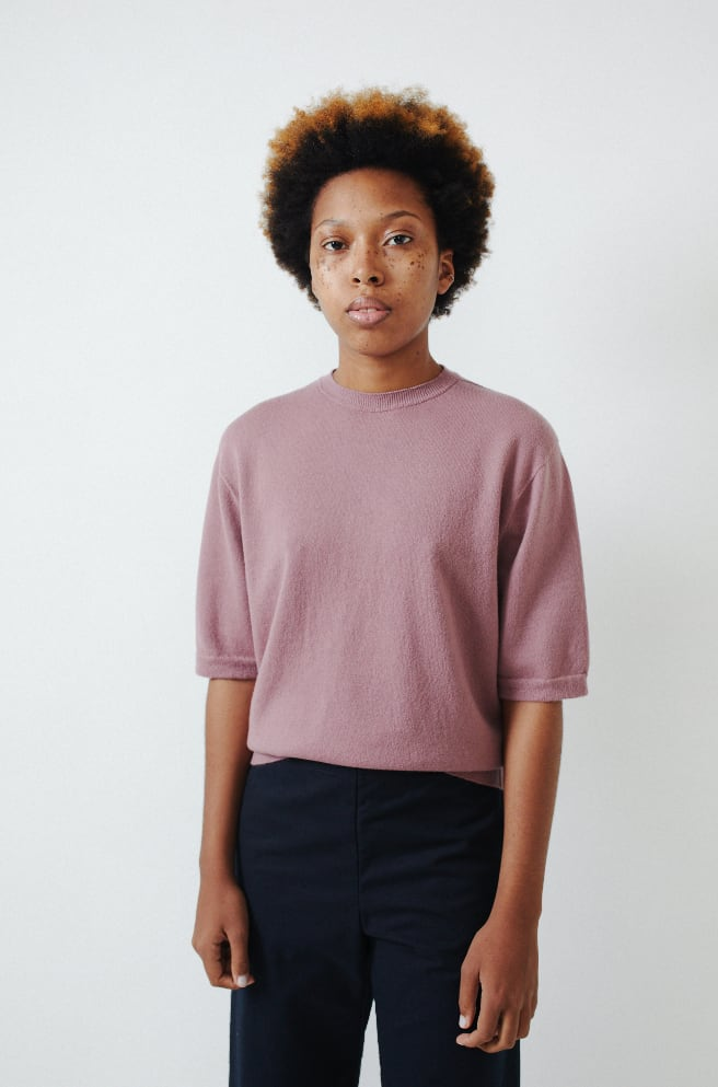 Cashmere Short Sleeve Pullover-shawl