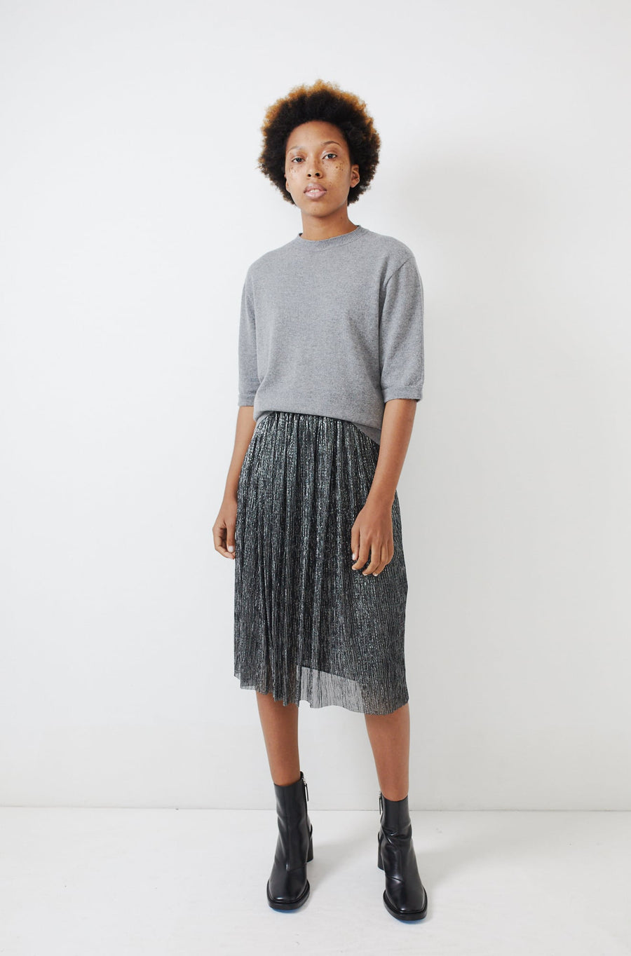 Cashmere Short Sleeve Pullover-grey