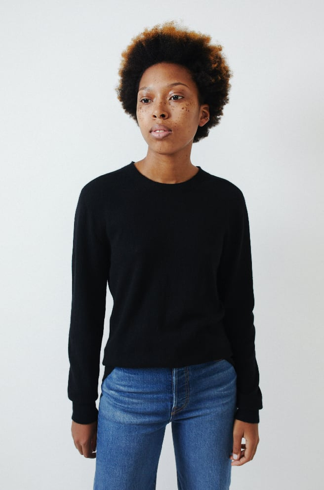 Cashmere Long Sleeve Pullover-black