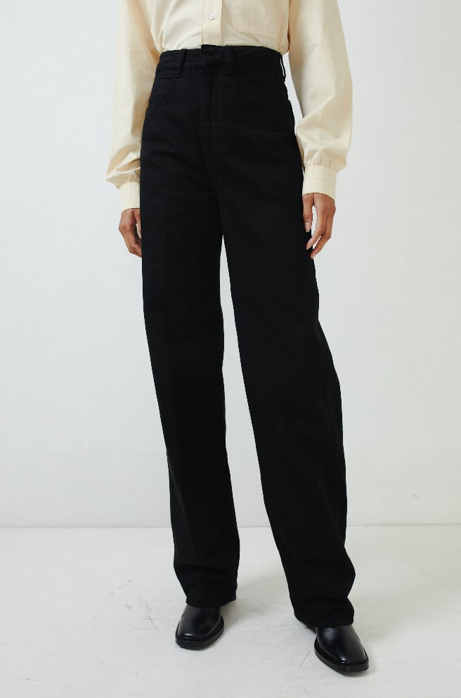 Garment Dyed Denim Pants-black