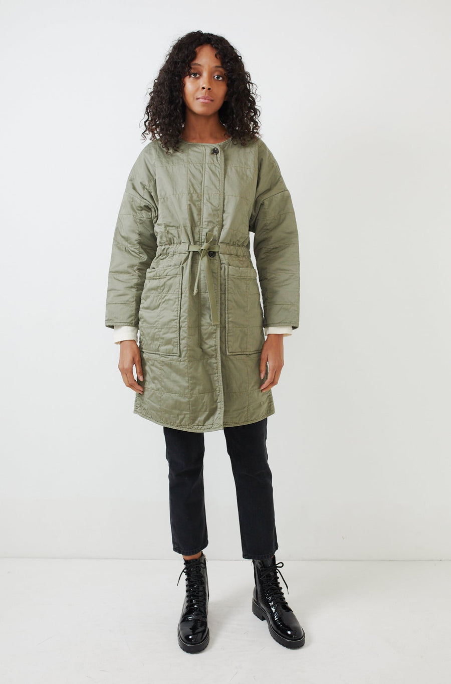 Christopher Quilted Coat-military green
