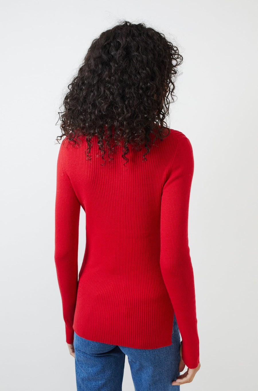 Ribbed Crewneck Sweater-poinsetta